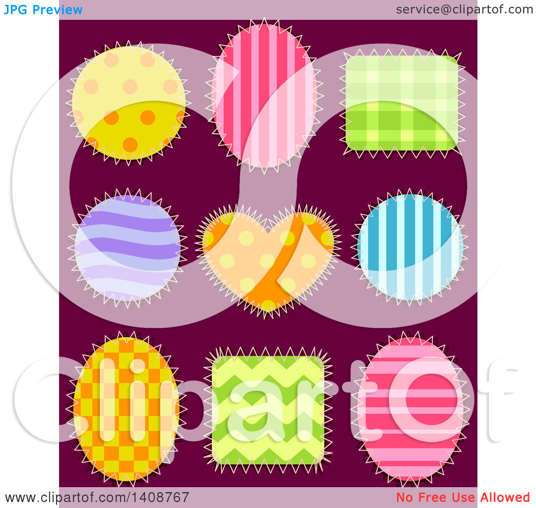 Clipart of Patterned Shape Patches, on Dark Purple.