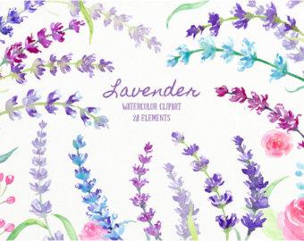 Watercolor clipart Purple Field dark field flowers by CornerCroft.