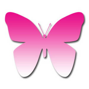 Clipart Picture of a Dark Pink to Light Pink Gradient Butterfly.