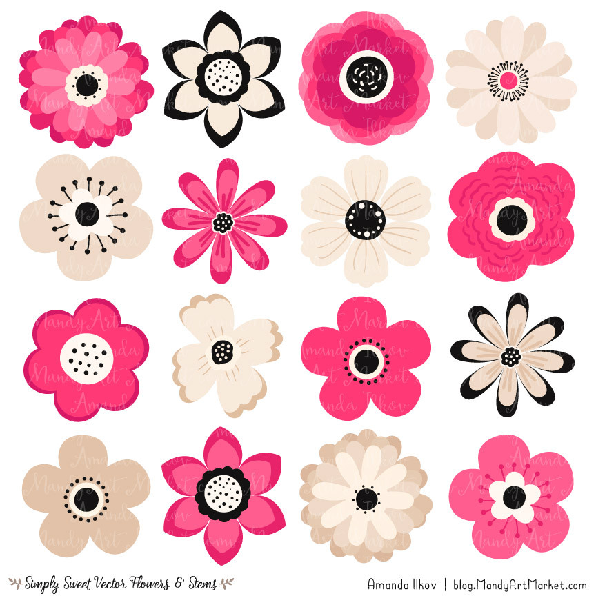 Cute Flowers Clipart in Hot Pink.
