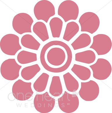 Dark Pink Modern Flower Clipart.