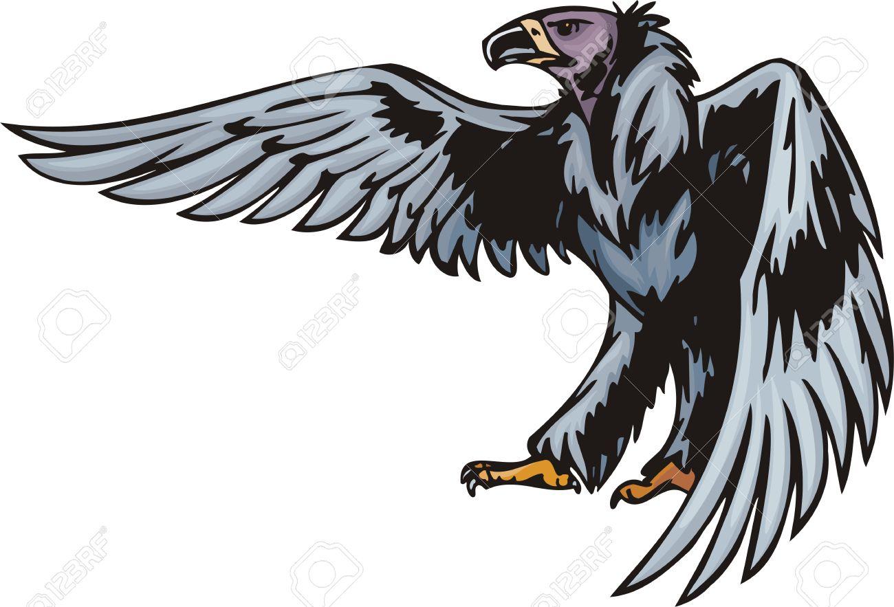 Griffin With Dark Blue Plumage. Predatory Birds. Illustration.