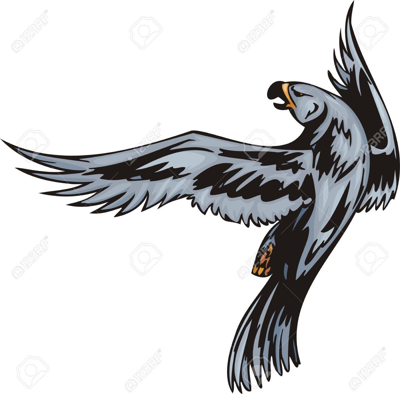 Eagle With Dark Blue Plumage. Predatory Birds. Illustration.