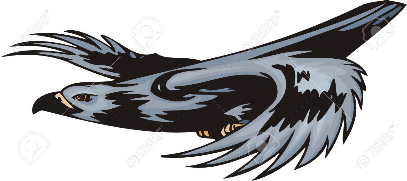 The Kite With Dark Blue Plumage Attacks The Purpose. Predatory.