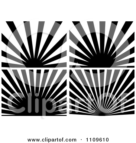 Sun rays clipart black and white.