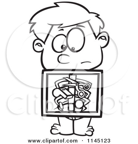 Cartoon Clipart Of A Black And White Boy with an Xray Showing.