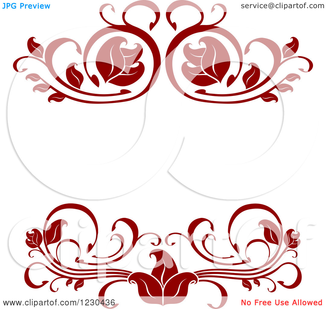 Clipart of a Dark Red Ornate Frame.