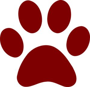 Dark Red Paw Print clip art.