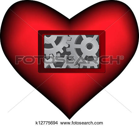 Clipart of Vector dark red heart with mechanical inside k12775694.
