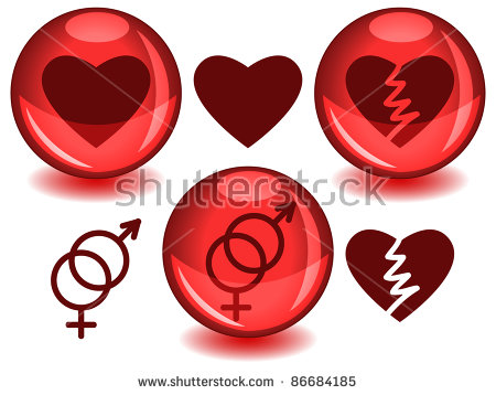Love Related Symbols: Heart, Broken Heart And Entwined Male Female.