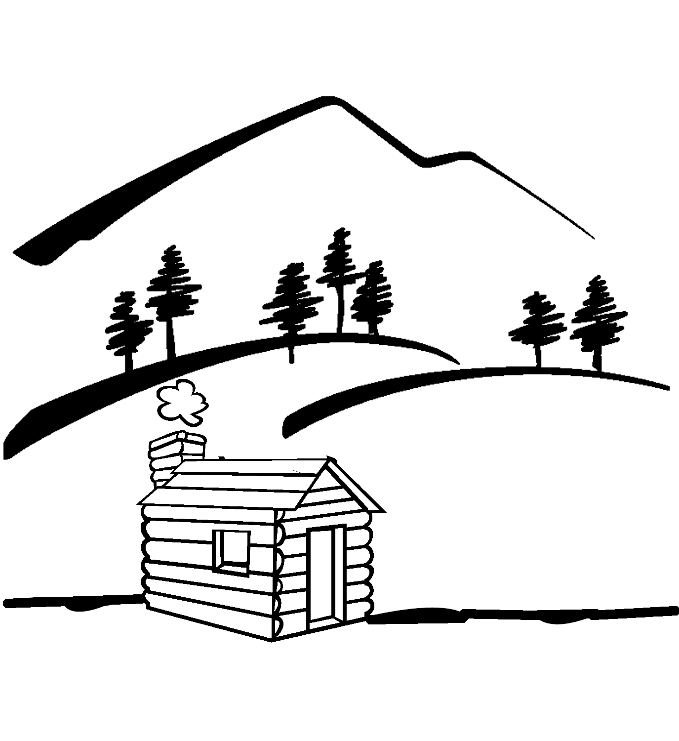 Mountain Black And White Clipart.
