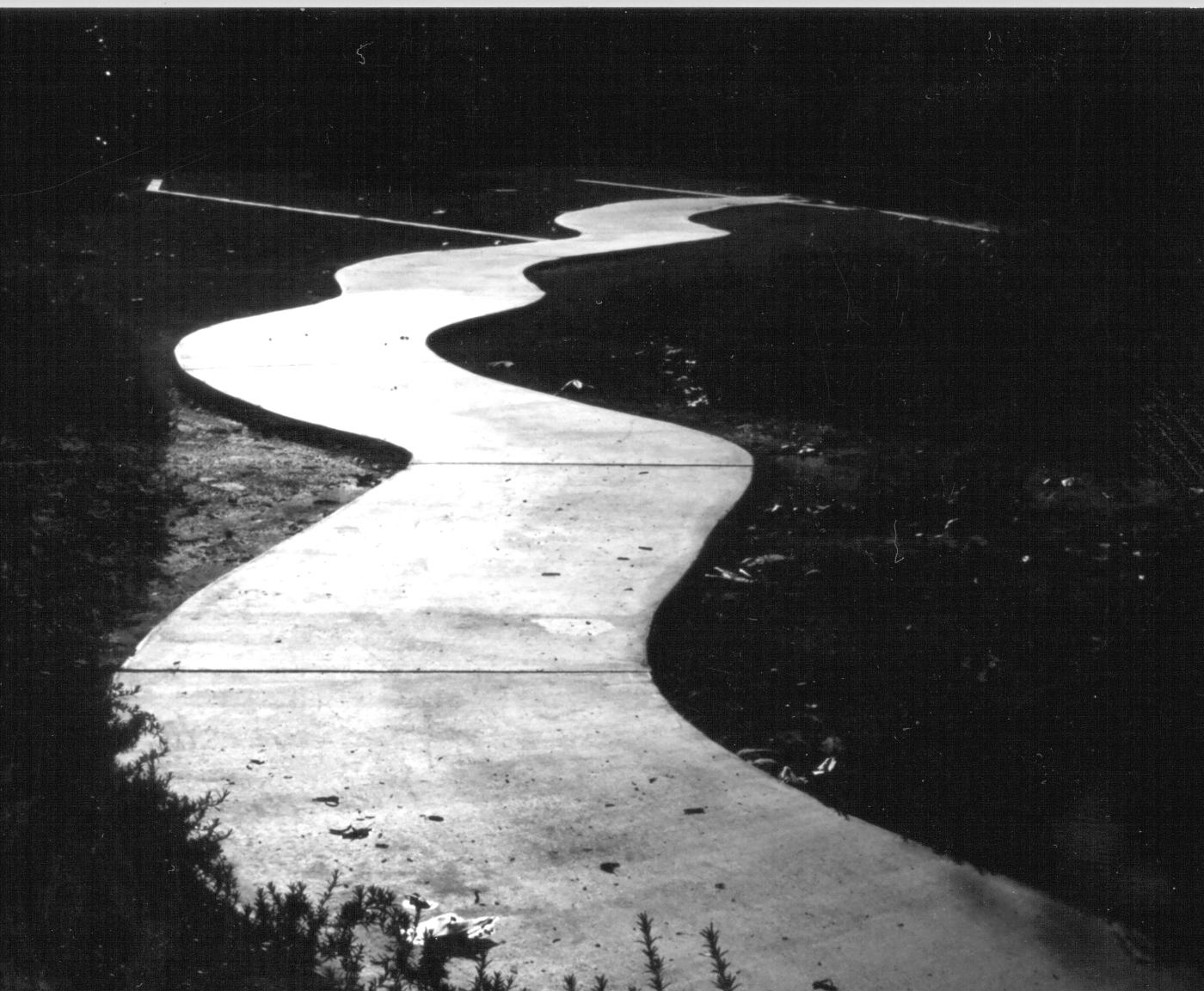 A dark road in clipart.