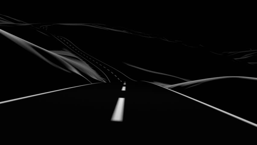 3D Animation Of A Road Trip On An Empty Road At Night. Stock.