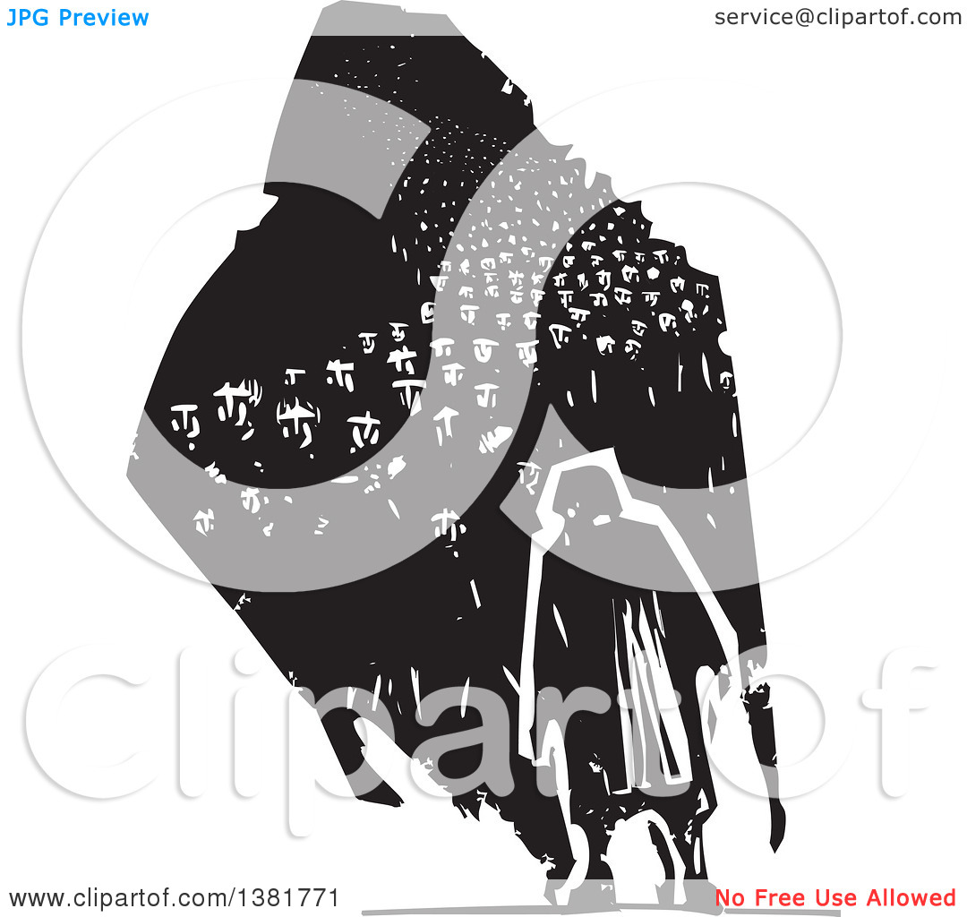 Clipart of a Black and White Woodcut Senior Woman Walking with a.