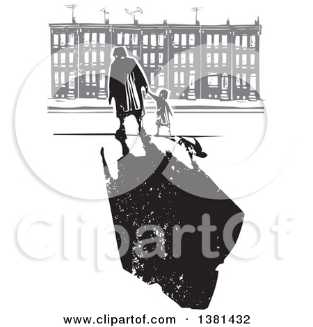 Clipart of a Black and White Woodcut Lone Senior Woman Walking.