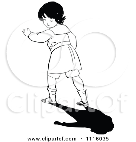 Clipart Retro Vintage Black And White Boy Looking Back At His.
