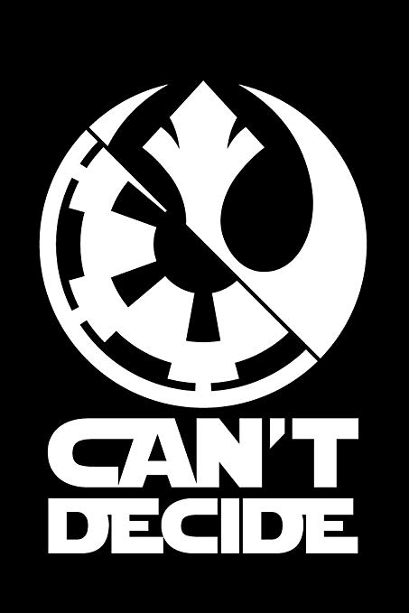 BAMFdecals Can\'t Decide Star Wars Dark Side Sith Jedi Imperial Republic  Logo Die.
