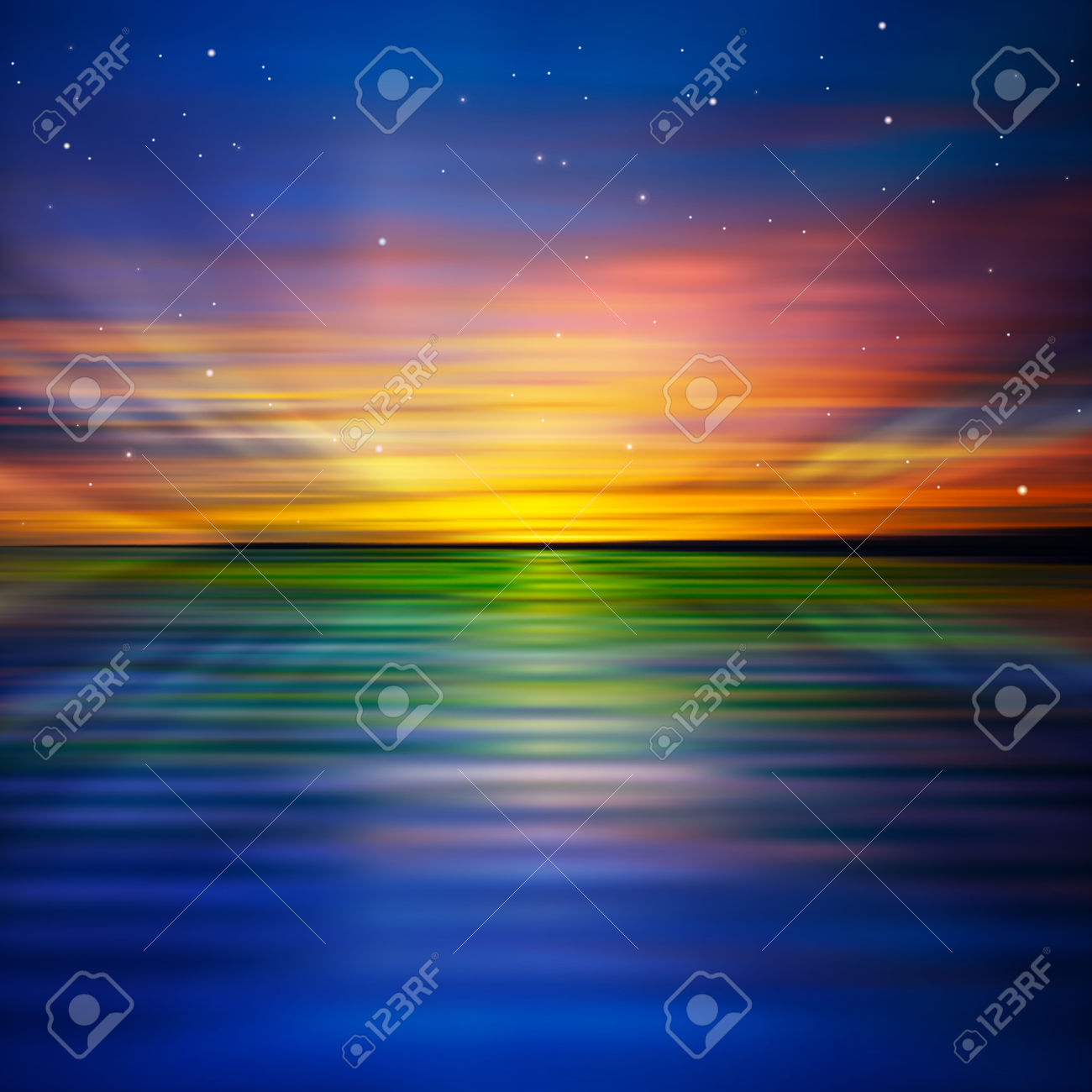 Abstract Background With Dark Sky And Red Ocean Sunset Royalty.