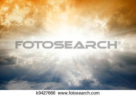 Stock Illustration of Bright sun in dark sky k9427666.