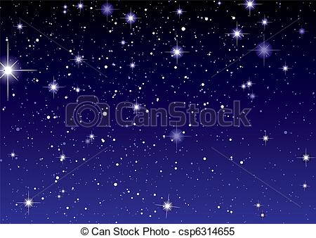 Clipart Vector of Space view dark star sky.