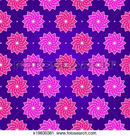 Clipart of Pink Round Flower on Dark Violet Seamless Pattern.