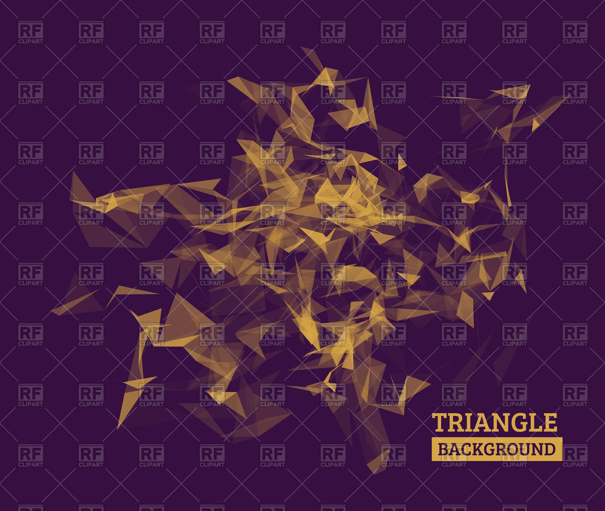 Geometric dark violet and gold polygonal background Vector Image.