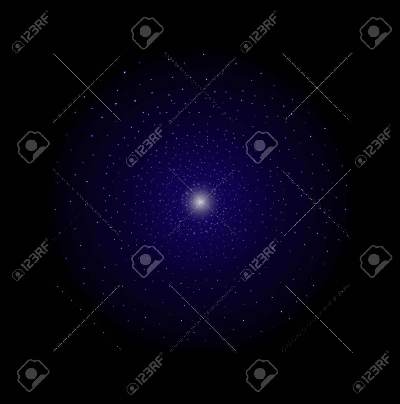 Deep Space Galaxy Star Shining. Dark Violet Color. Vector Clip.