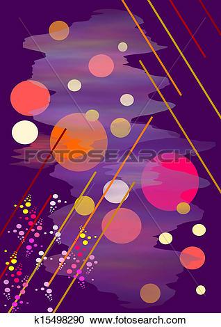 Stock Illustrations of Composition on dark violet background.