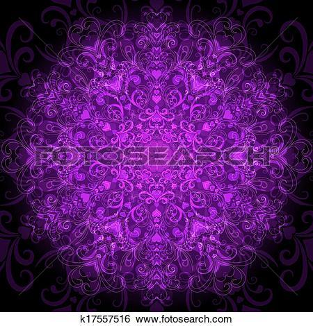 Clip Art of Dark violet round pattern k17557516.