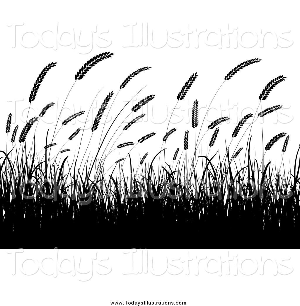 Tall grass clipart black and white.