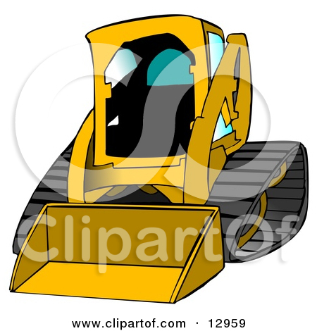 Dark Yellow Bobcat Skid Steer Loader With Blue Window Tint Clipart.