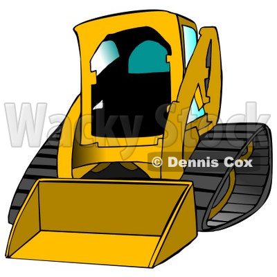 Yellow Bobcat Skid Steer Loader With Blue Window Tint Clipart.