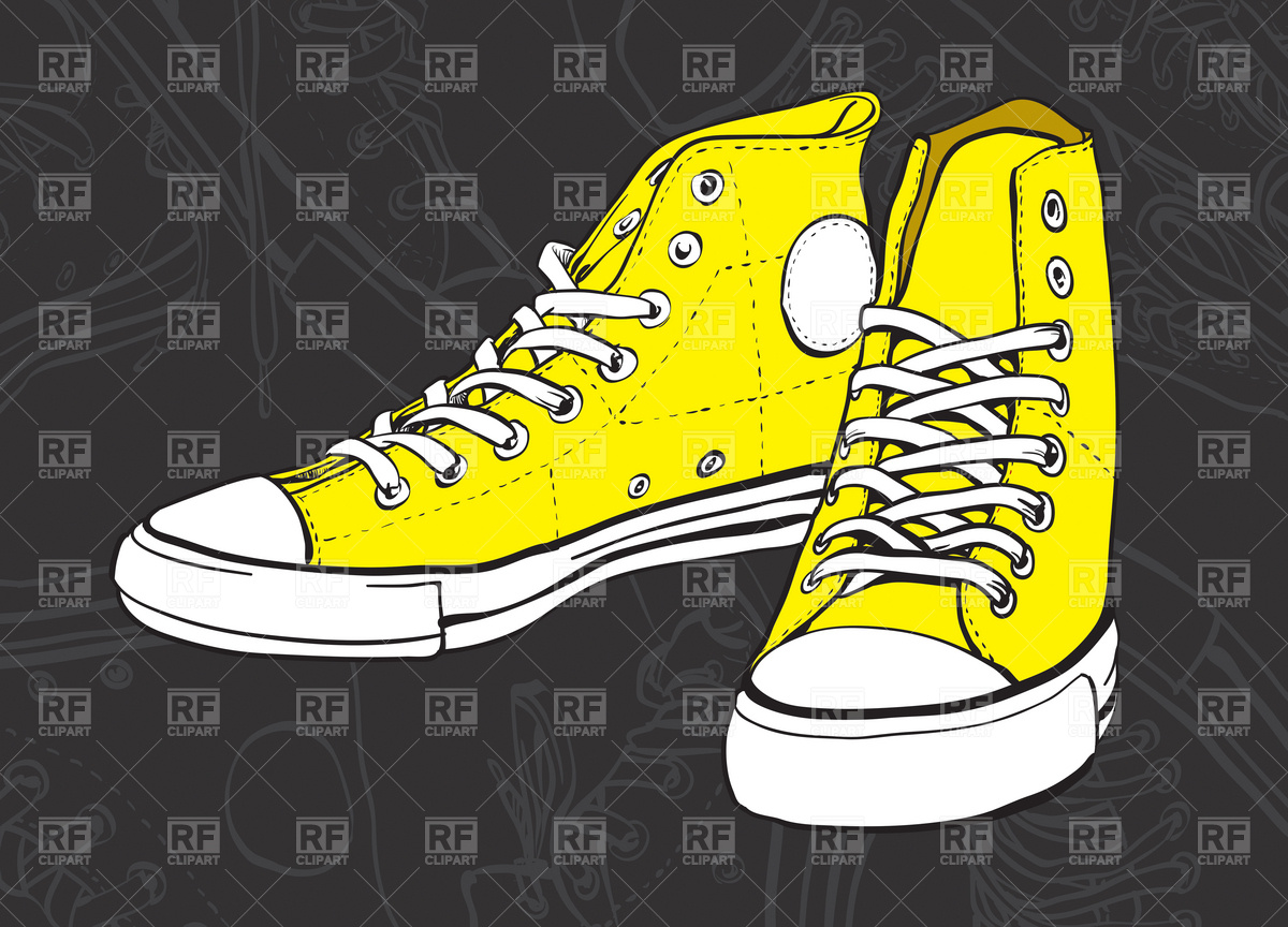 Yellow sneakers on dark background Vector Image #4539.