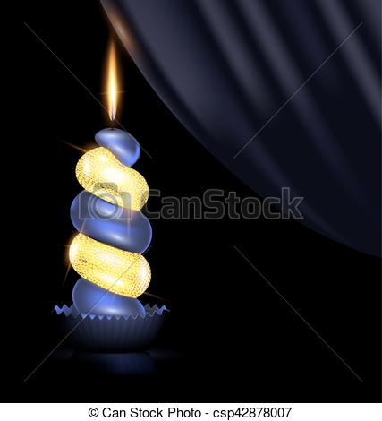 Vector Clipart of dark yellow candle and drape.