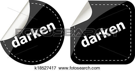 Stock Illustration of darken word on black stickers web button set.
