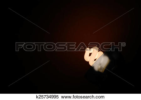 Stock Image of A shiny spiral fluorescent light bulb with.