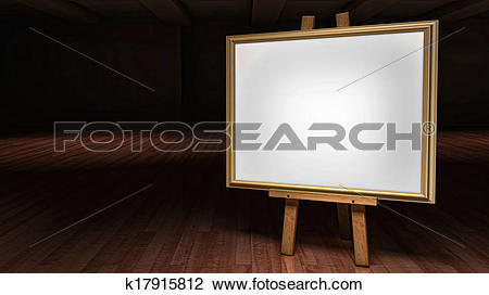 Clip Art of Art Easel with blank framed canvas in a darkened.