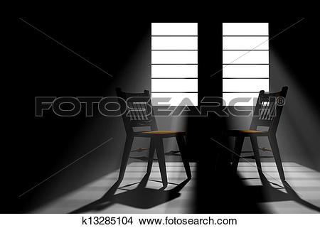 Stock Photo of Darkened room with two windows with sunlight.