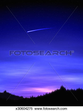 Stock Image of Meteor Flying Through a Darkened Sky x30604275.