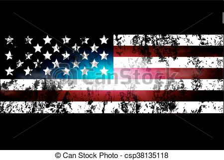 Vector Clip Art of darkened background of the USA flag.