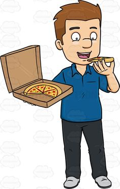 A Dark Haired Man Savoring A Box Of Pizza.