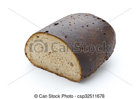 Picture of Dark rue bread on a white background. csp32511678.