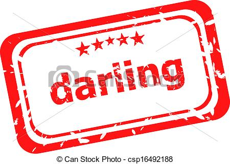 Stock Illustration of darling word on red rubber old business.