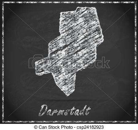 Clip Art of Map of darmstadt as chalkboard in Black and White.