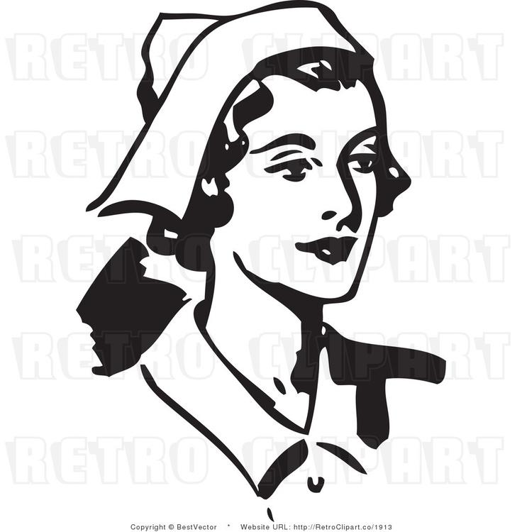 Black and White Retro Vector Clip Art.