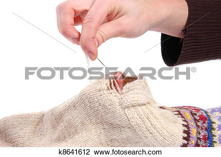 Stock Photo of Sock darning k8641612.