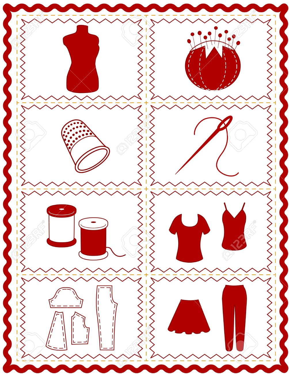 Sewing And Tailoring Icons, Tools And Supplies For Dressmaking.