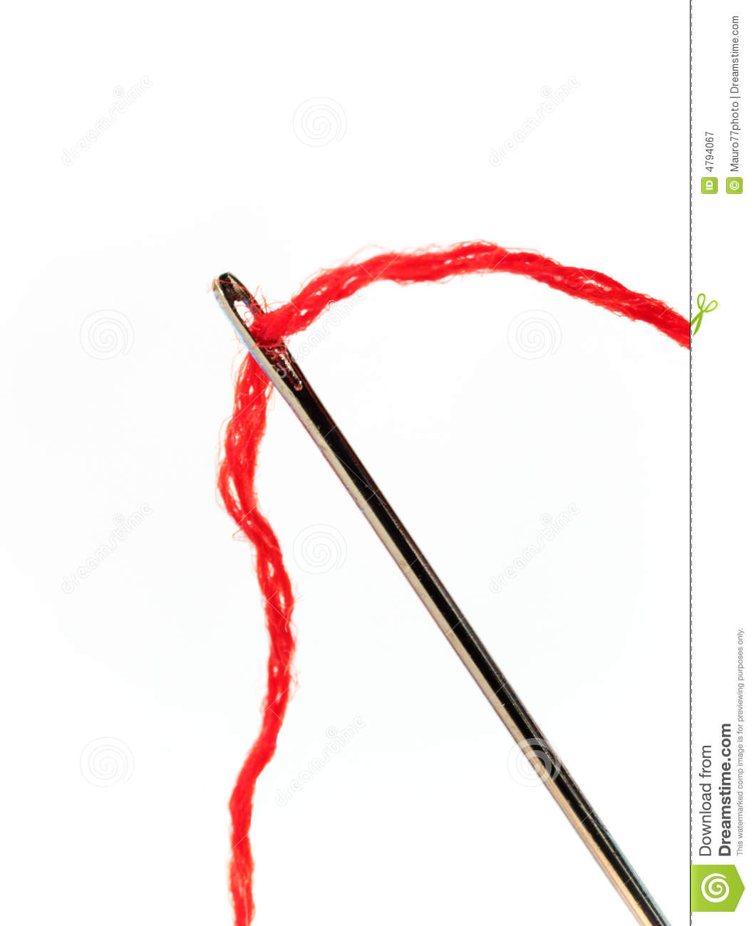 Darning Needle And Red Thread Royalty Free Stock Photography.
