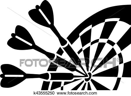 Dartboard with Darts Clipart.
