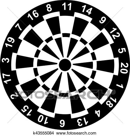 Dartboard with Numbers Clipart.